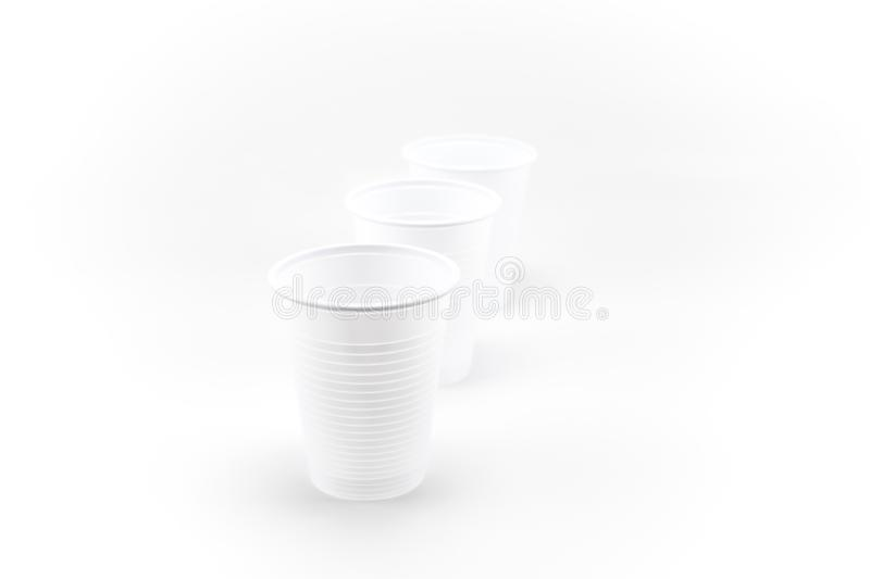 White Plastic Glass, Three Plastic Cups, white, clear, blank, isolated on white background royalty free stock photos