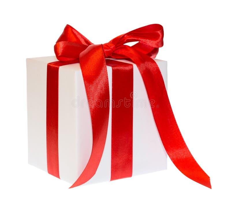 White box gift ribbon bow. Isolated on white background stock photography
