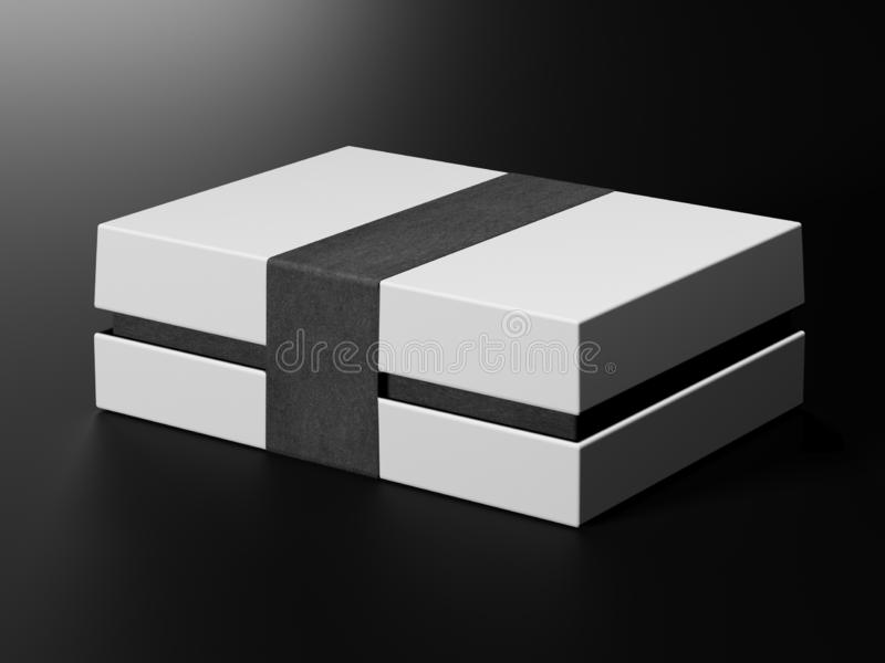 White box mock up. Blank flat white paper cardboard box template lying on black background Packaging collection. 3D vector illustration