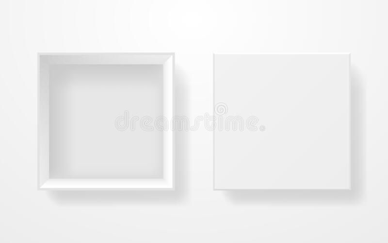 White box mockup top view. Realistic template on light background. Square cardboard box isolated. Open container with vector illustration