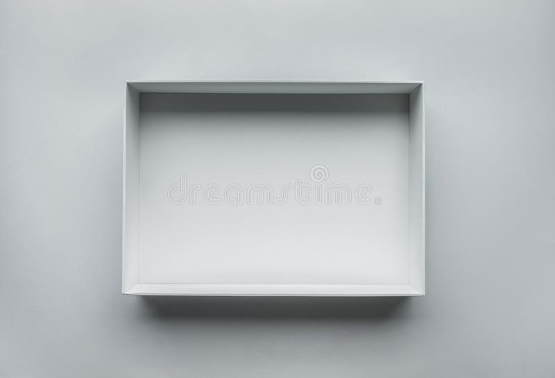 White box open on table.top view.real photo stock images