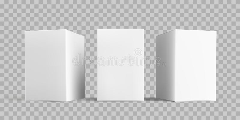 White box package mock-up set. Vector isolated 3D white carton cardboard or paper package boxes models templates, transparent vector illustration