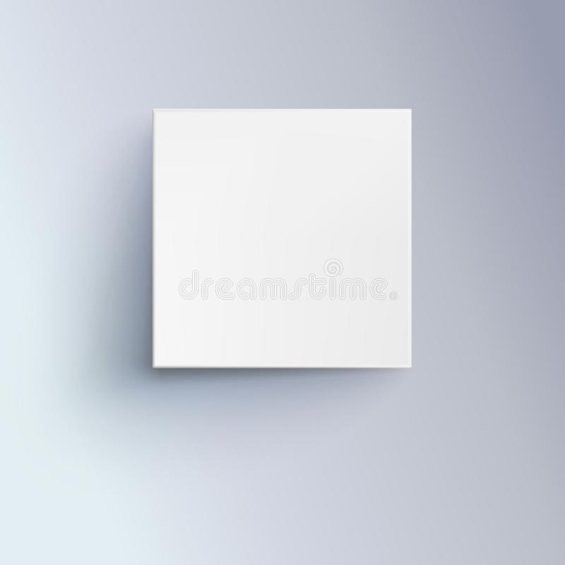 White box with shadow for logo, text or design. 3D illustration , top view. Icon of cube close-up. stock illustration