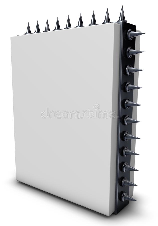 Spikes box. White box with spikes - 3d rendering stock illustration