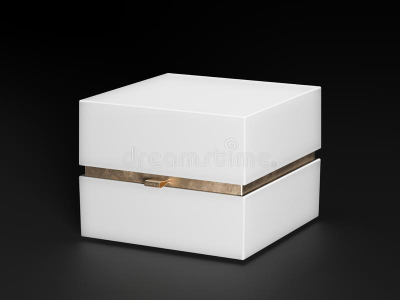 White Box. White square golden color box on black background. Packing for mockup. Gift box. 3d rendering. royalty free stock photography