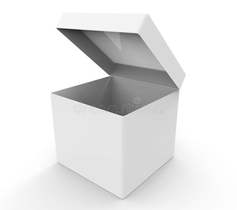 White box, square shape. 3d modelled and rendered white box stock illustration