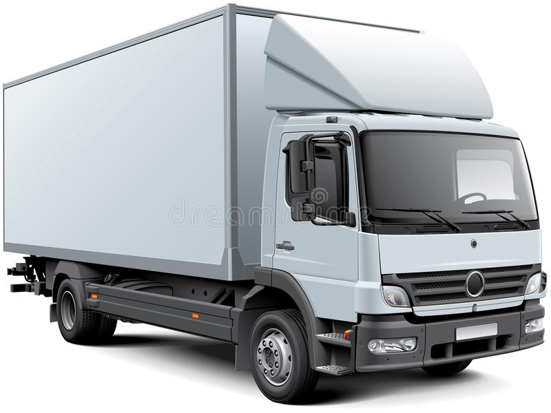 White box truck. High quality vector image of white European box truck, isolated on white background. File contains gradients, blends and transparency. No vector illustration
