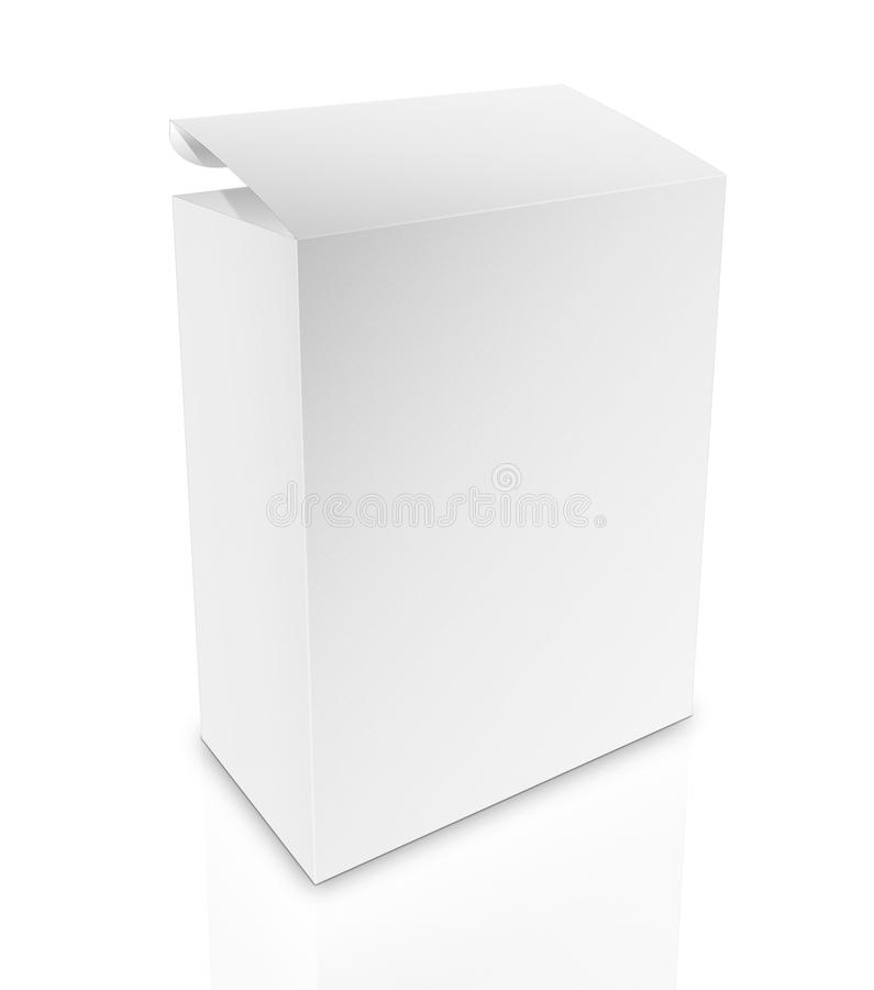 White box on white background with clipping path. Close up of a white box on white background with clipping path royalty free illustration