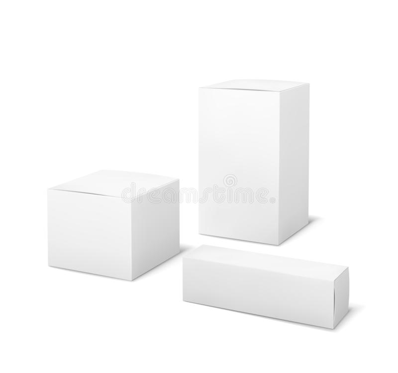 White boxes. Blank package medical and cosmetics box 3d products paper packaging cartons isolated vector mockup. Set vector illustration