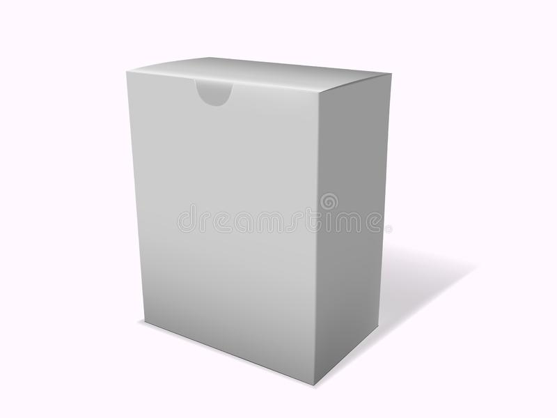 White boxes 3d products paper packaging cartons isolated on white. Vector mockup. White boxes 3d products paper packaging cartons royalty free illustration