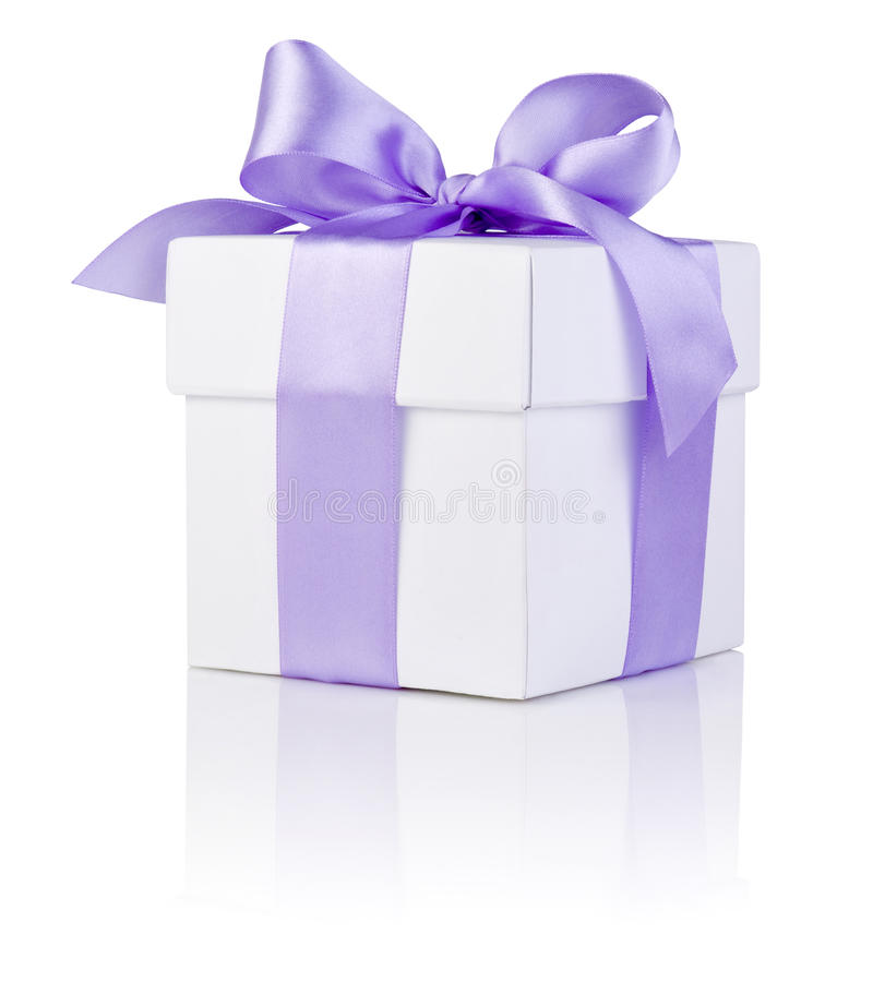 Download White Boxs Tied Purple Satin Ribbon Bow Isolated Stock Image - Image: 28026387