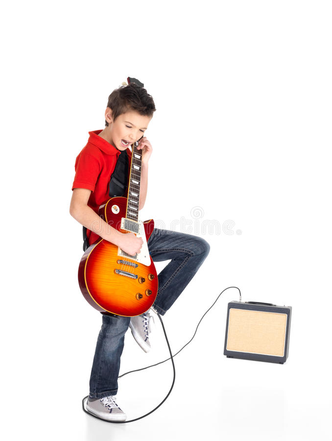 White boy plays on the electric guitar