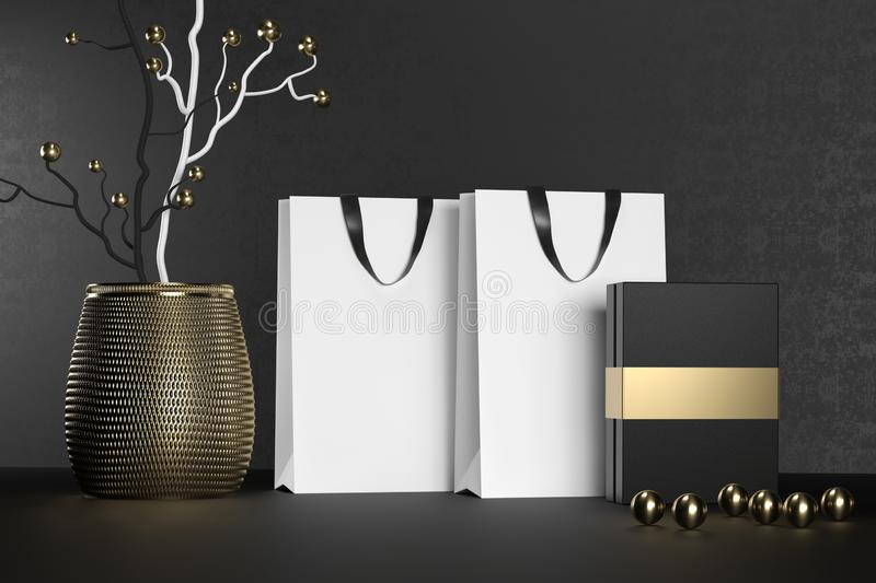 White branding paper shopping bag with handles and luxury black box Mock Up. Premium white package for purchases mockup royalty free stock photo