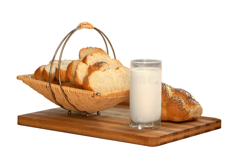 White bread and milk in glass royalty free stock photography