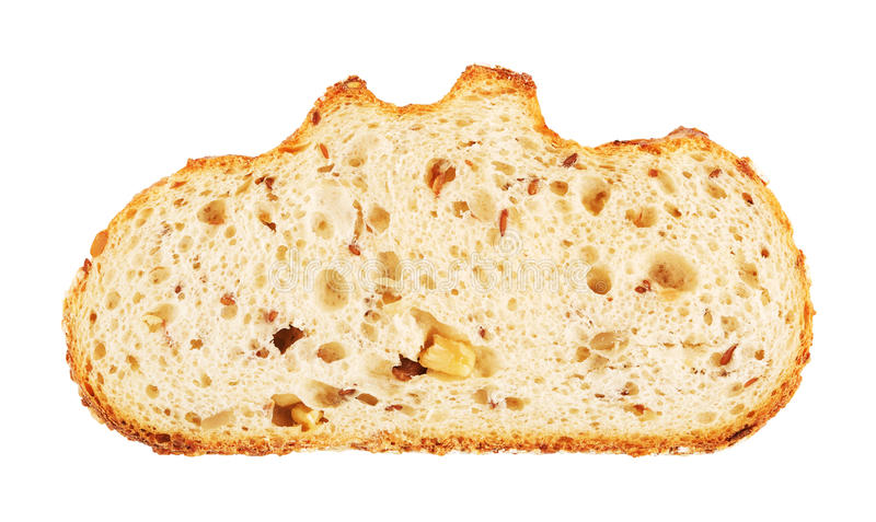White Bread Slice With Nuts And Roasted Sunflower Seeds stock images