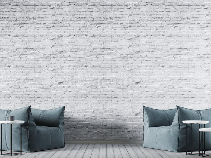 White brick empty wall in modern interior background with blue fabric armchair. stock illustration