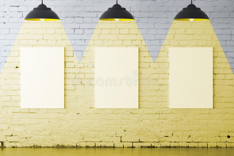 White brick interior with posters vector illustration