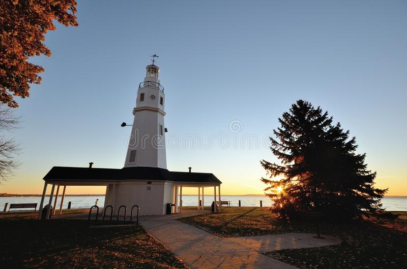 White Brick Lighthouse at Sunrise. White Brick Lighthouse Located in Neenah, Wisconsin stock photos