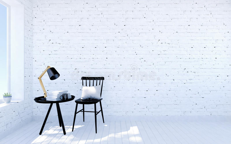 White brick modern living room interior with living space, black furniture nearby room window. 3D rendering royalty free illustration