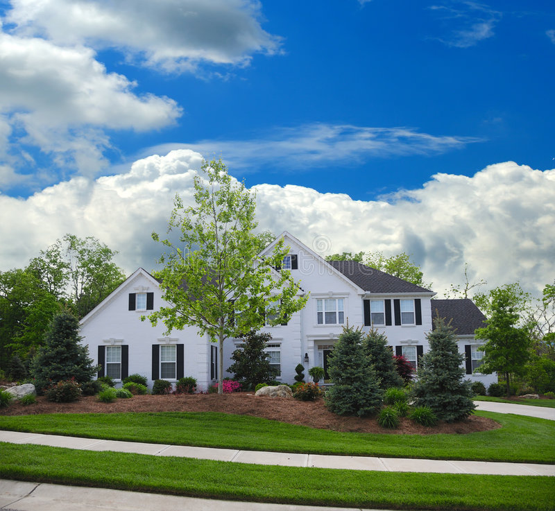 Download White Brick Suburban Home stock photo. Image of residence - 5583414
