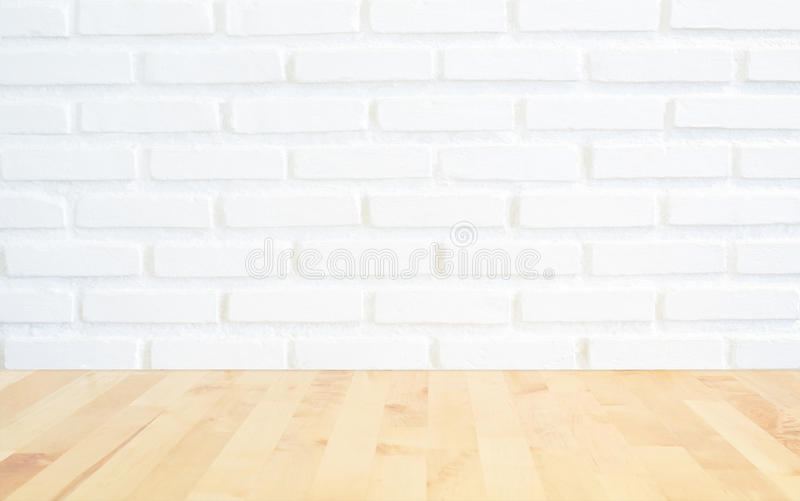 White Brick Wall Background With Perspective Light Wood Slightl