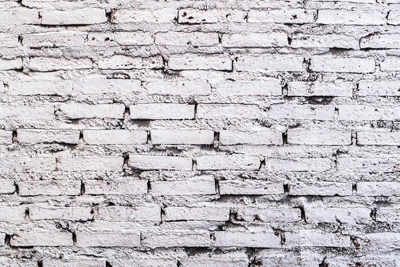 White brick wall background in rural room.White Gray Bricks Wall Pattern.background idea royalty free stock images