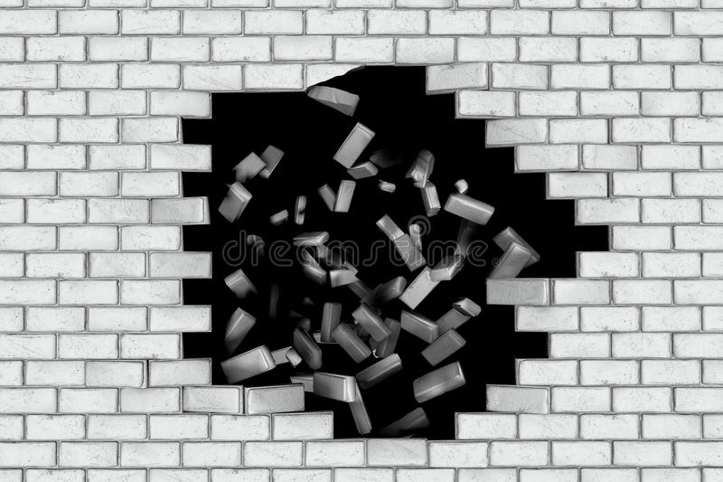 White brick wall falling down making a hole. Black background royalty free illustration