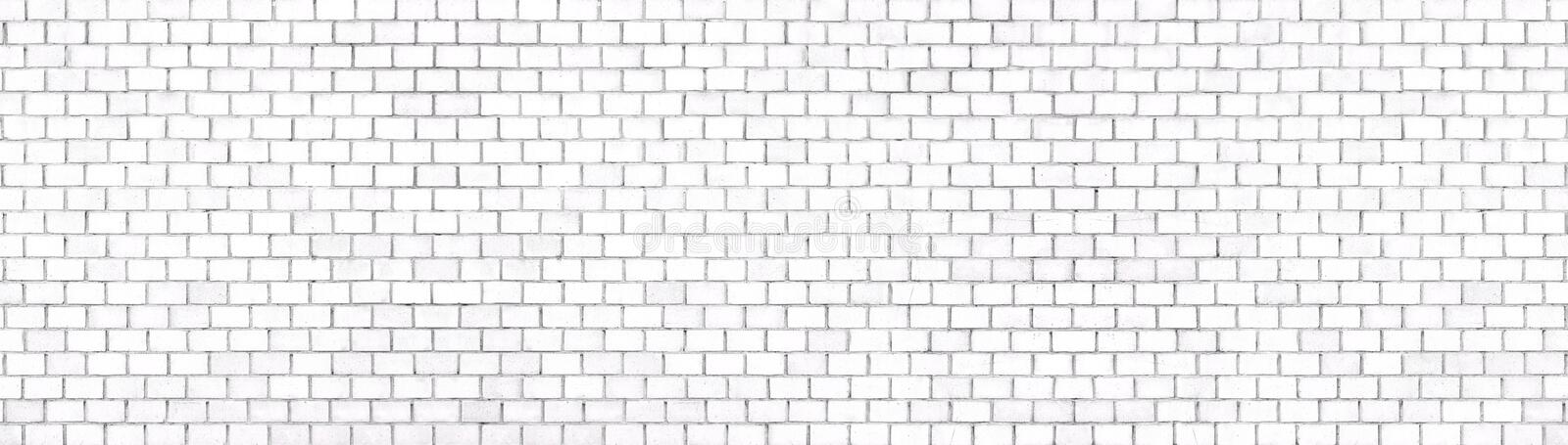 White brick wall panoramic background for design royalty free stock image