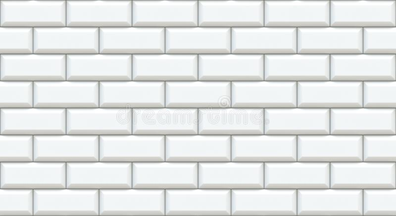 White brick wall rectangles with chamfered edge. Empty background. Vintage stonewall. Room design interior. Backdrop for cafe. stock illustration