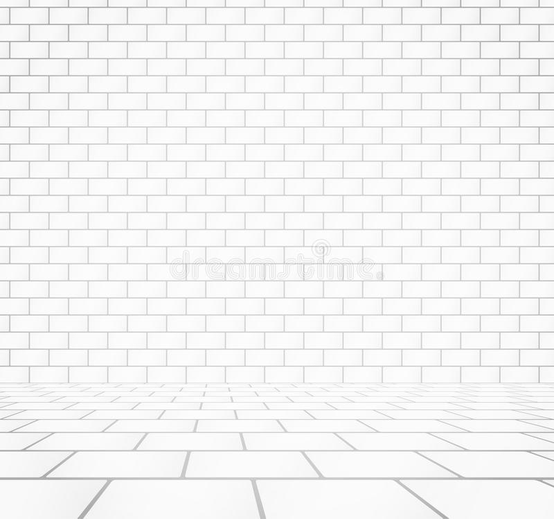 White brick wall texture with stone tile walkway.  vector illustration