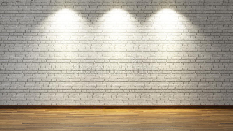 White brick wall with three spot lights stock photography