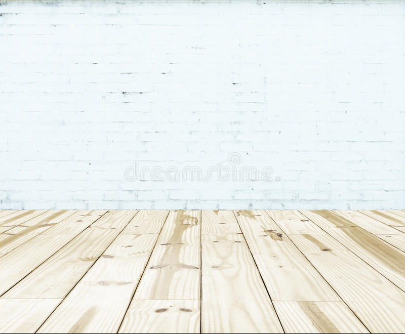 White Brick Wall And Wood Floor Background Stock Image ...