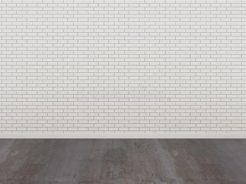 White brick wall and wood floor in a empty room stock illustration