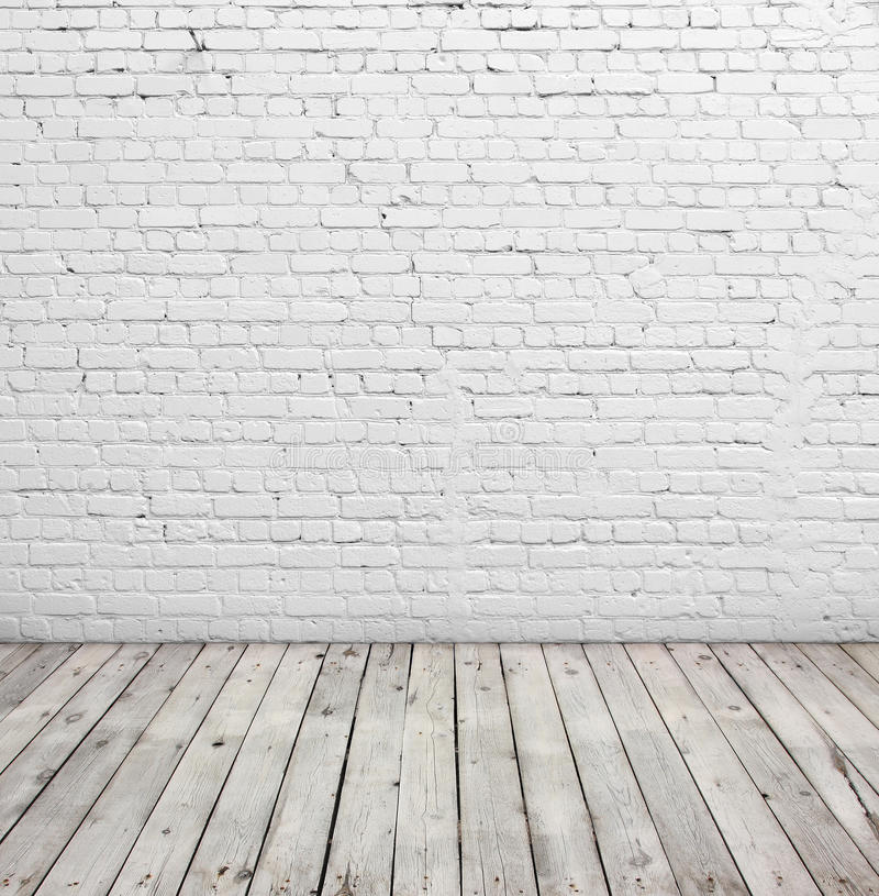 White Brick Wall And Wood Floor Stock Image Image Of