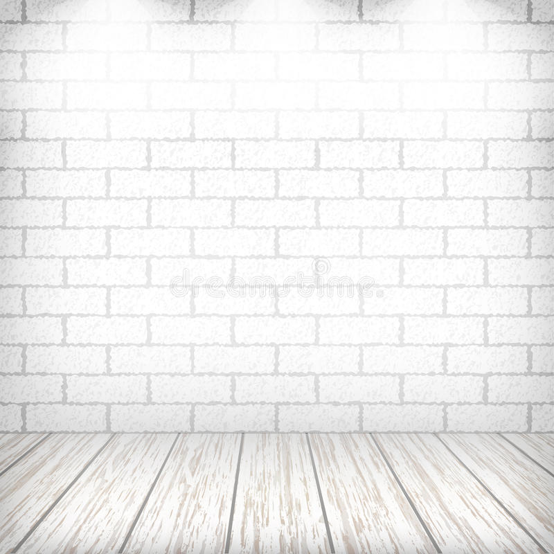 White brick wall with wooden floor stock illustration