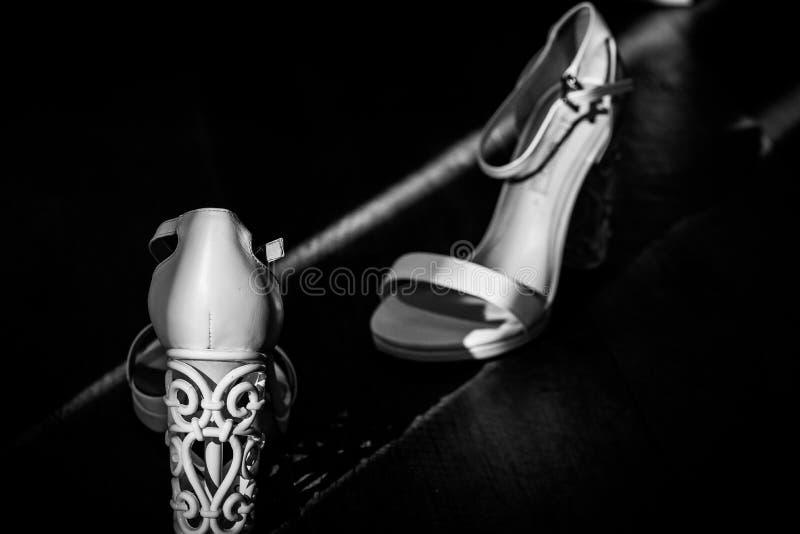 White bridal shoes royalty free stock photo