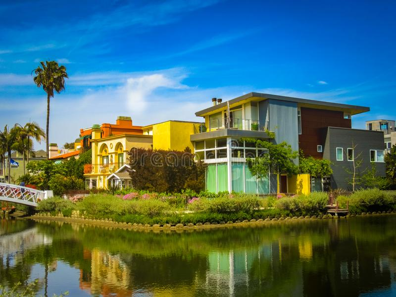 Beautiful Venice Homes. White Bridge and Beautiful Homes Along The Venice Canals, Venice, Los Angeles royalty free stock image