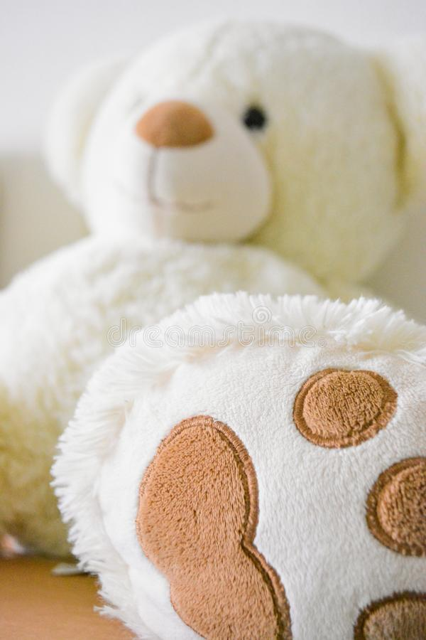 White and Brown Bear Plush Toy Selective Photo royalty free stock image