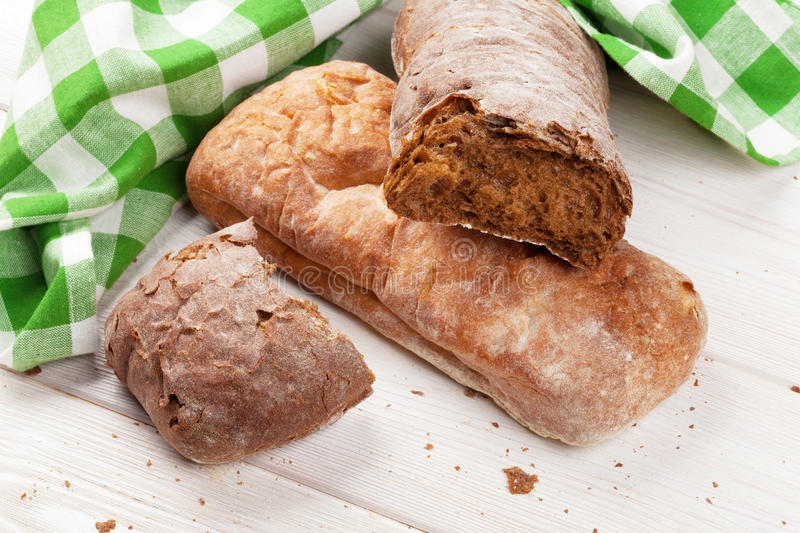 White and brown ciabatta royalty free stock image