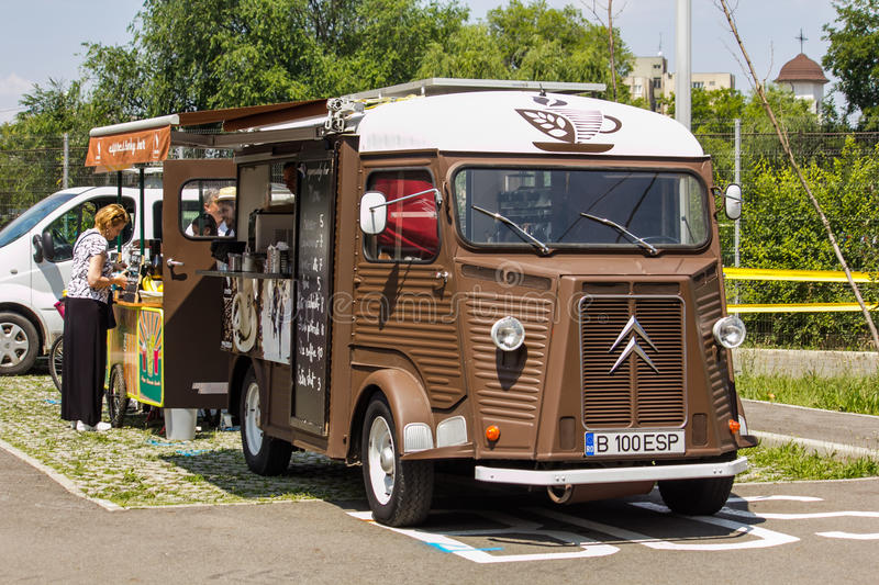 White and brown coffee and food truck royalty free stock photo