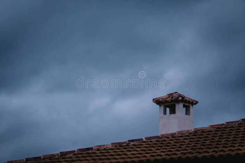 White and Brown Concrete Chimney stock photo