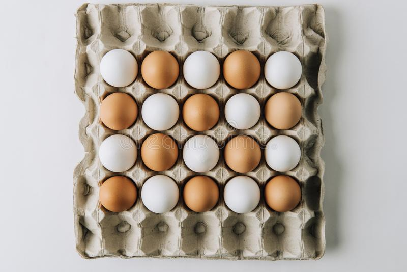 White and brown eggs laying in egg carton on white background stock photos