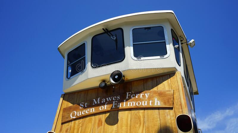 White and Brown St. Mawes Ferry Queen of Faimouth Ship Under Clear Blue Sky royalty free stock photos