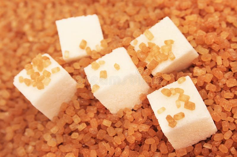 White and brown sugar. royalty free stock photography