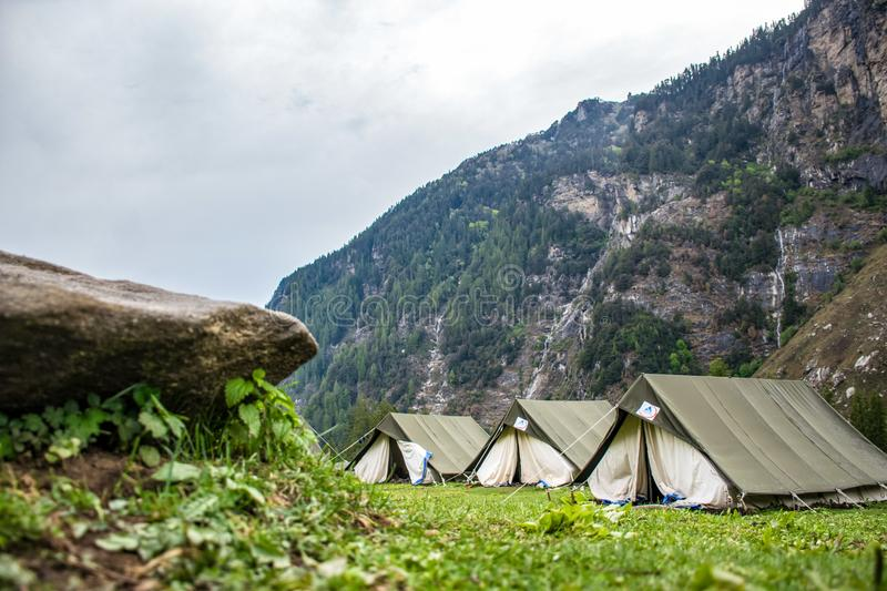 White and Brown Tent Camps stock image