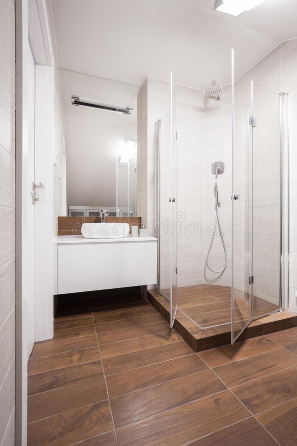White And Brown Washroom Interior Stock Image Image Of