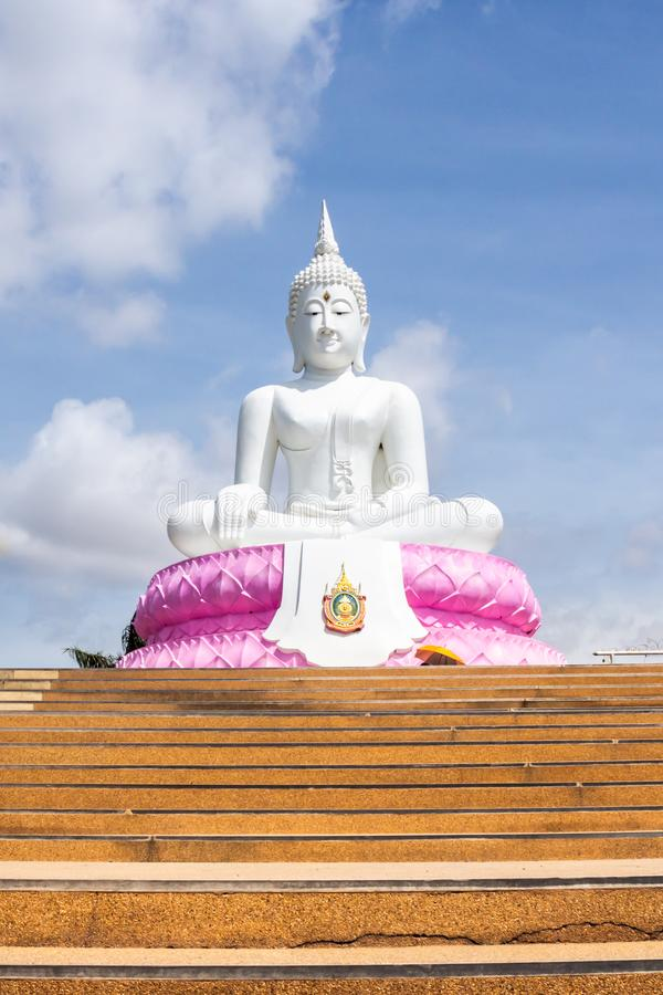 White Buddha and sky background Phra Buddha Rattanamanee Mahaborphit Chonlasit Mongkholchai royalty free stock image