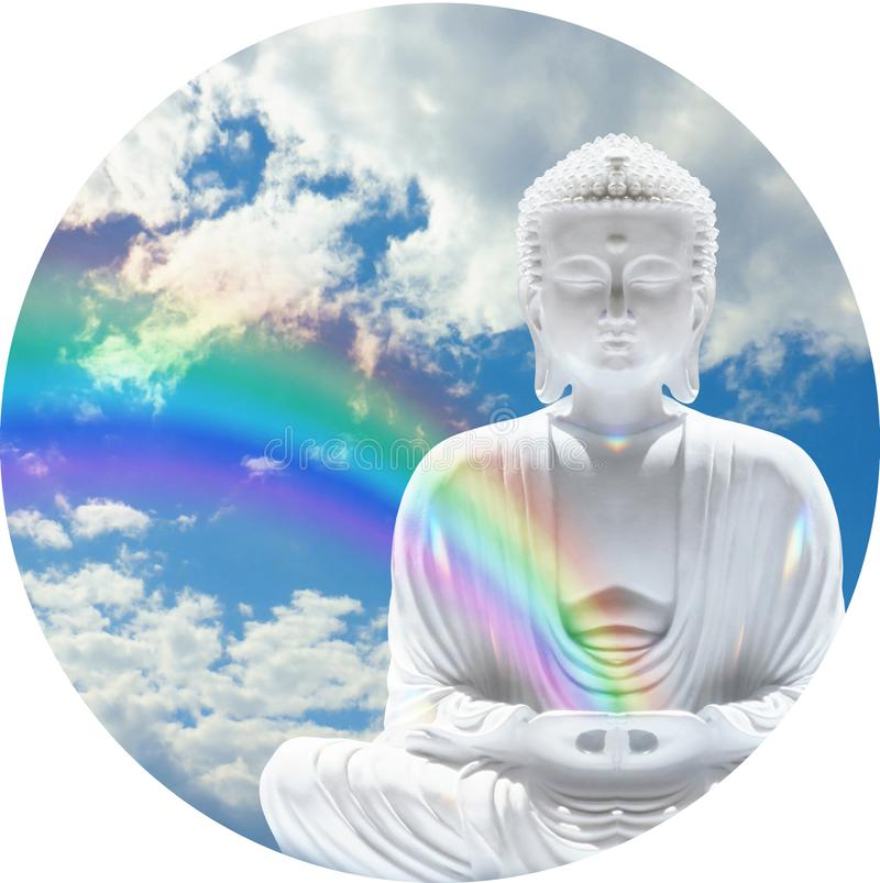 Budhha Rainbow Circular Clock Face Background. A white Buddha statue with rainbow coming from hands against a blue sky and fluffy cloud background in a circle royalty free stock photo