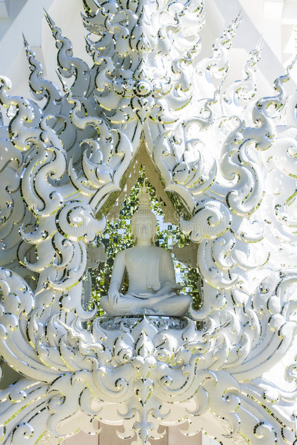 White buddha status. Rong Khun temple, Thailand stock photography