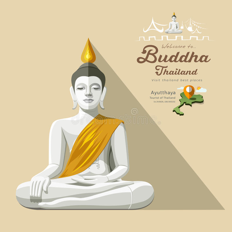 White Buddha and yellow robe of Thailand royalty free illustration